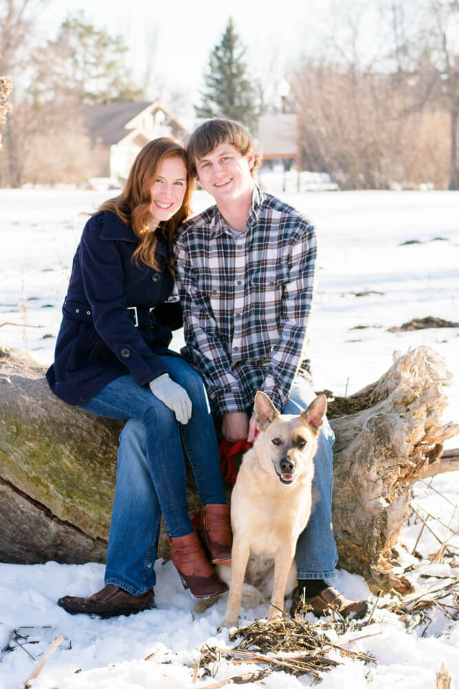 engagment session with dog - Emily and Dez - Fargo Engagement