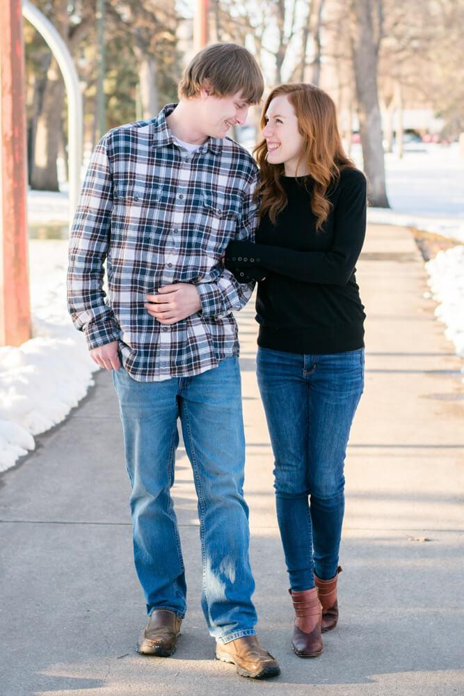 fargo winter engagement - Emily and Dez - Fargo Engagement